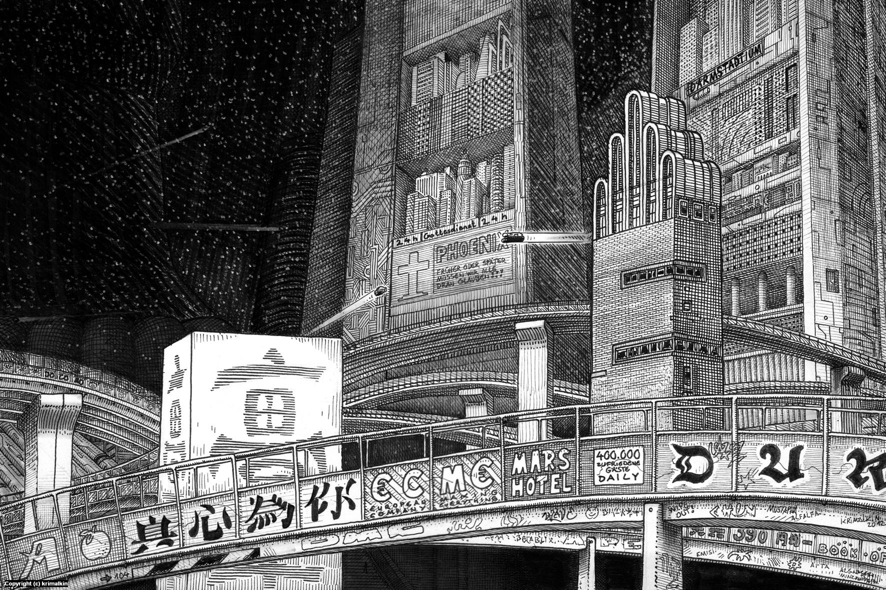 Das dystopische Darmstadt 2012 Artwork by Ingo Krimalkin Lohse