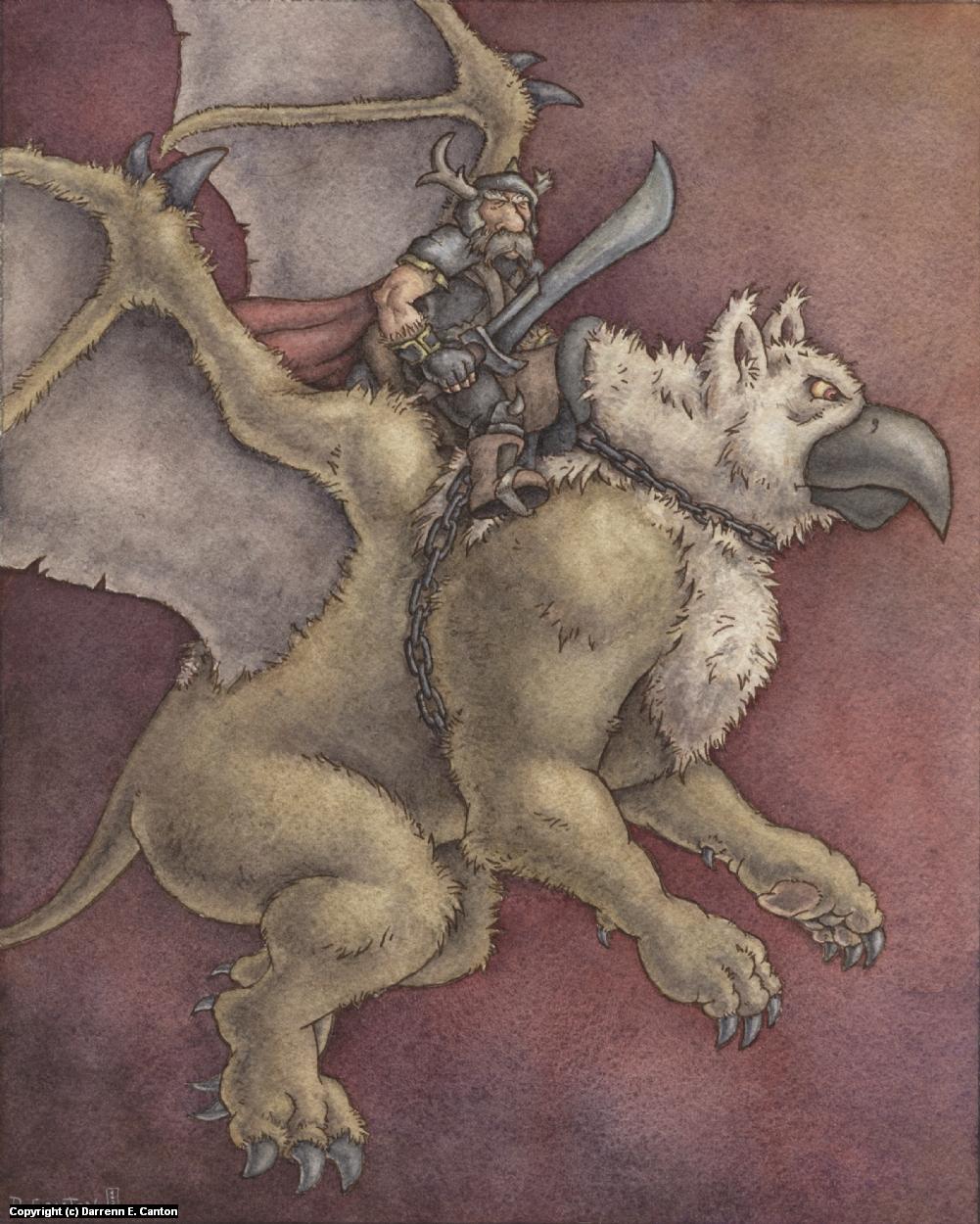 Griffin-goyle Rider Artwork by Darrenn Canton