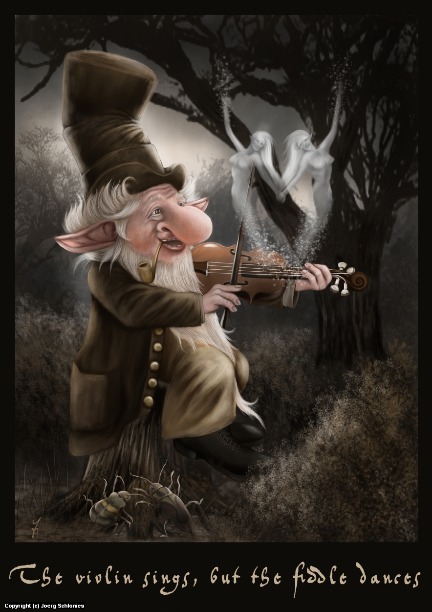 The violine sings, but the fiddle dances! Artwork by Joerg Schlonies
