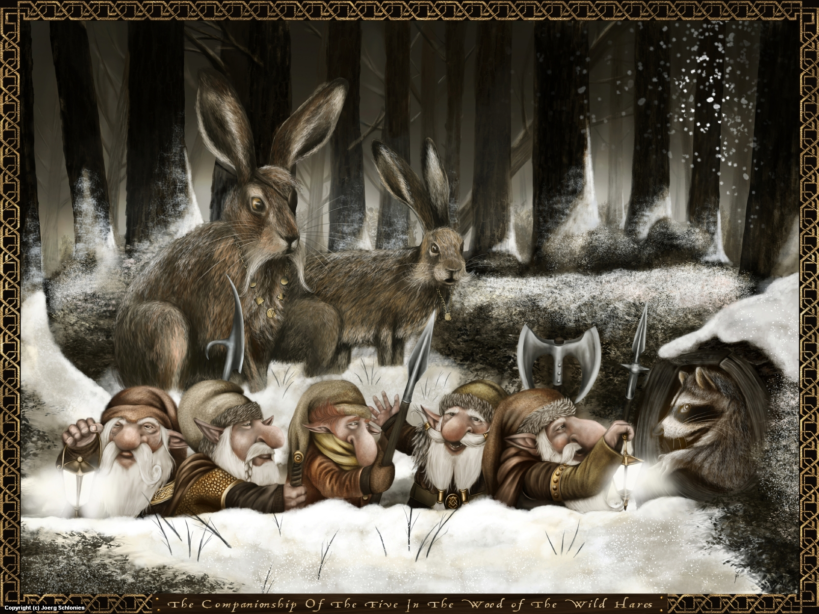 The companionship of the five in the wood of the wild hares Artwork by Joerg Schlonies