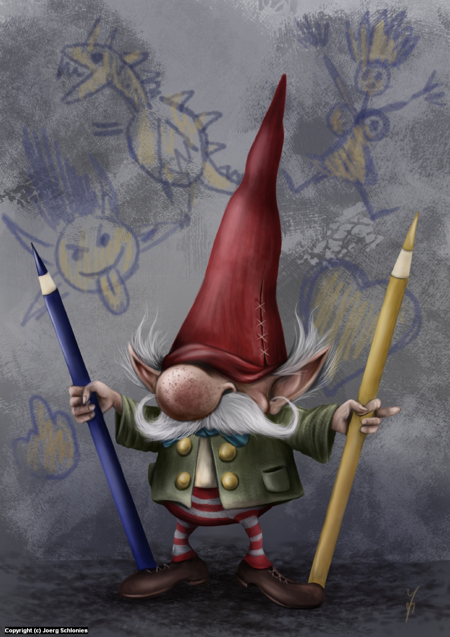 The Drawing-Gnome commands to you : DRAW MORE!! Artwork by Joerg Schlonies