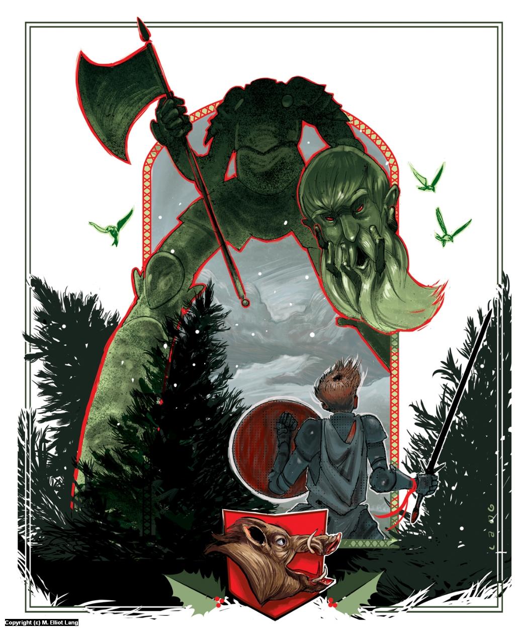 Gawain and Bercilak Artwork by Elliot Lang