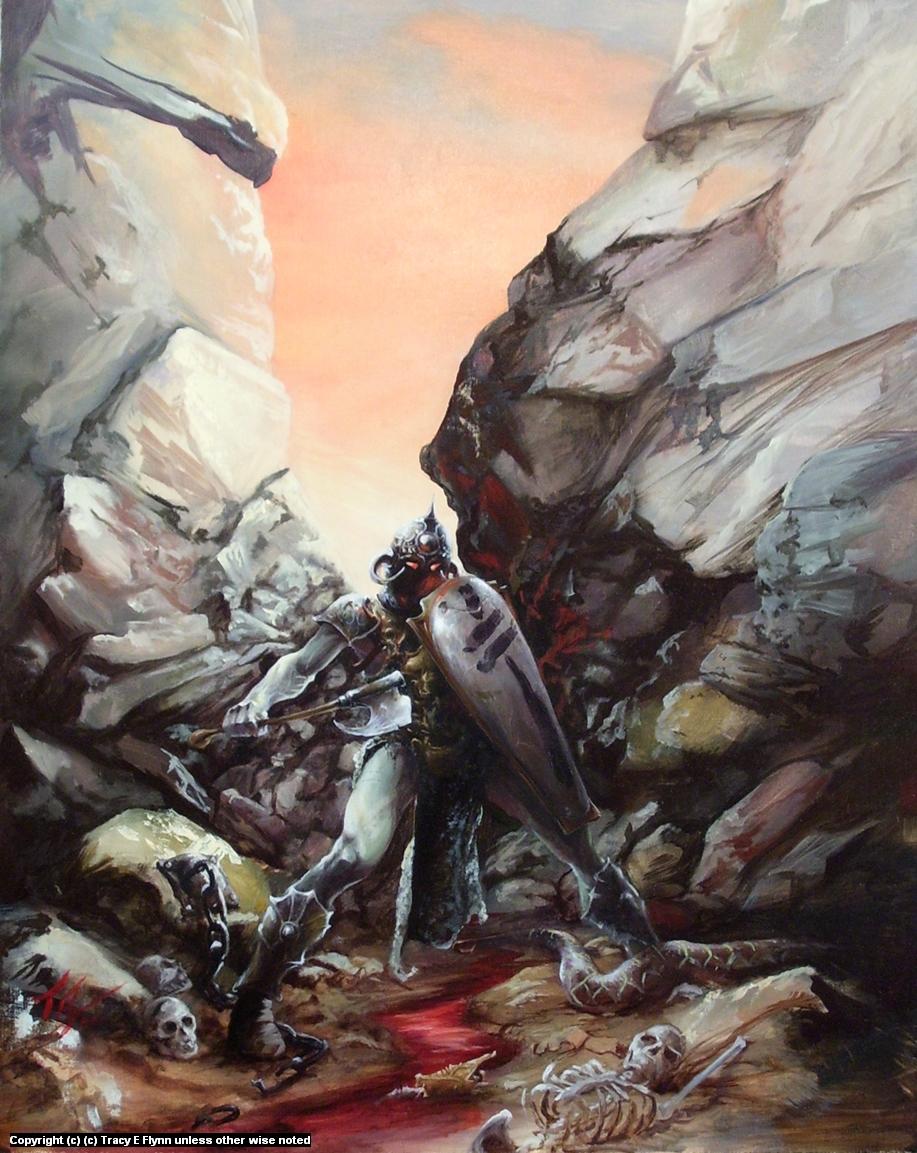 DEATH DEALER ( an homage to Frank Frazetta ) Artwork by Tracy E Flynn