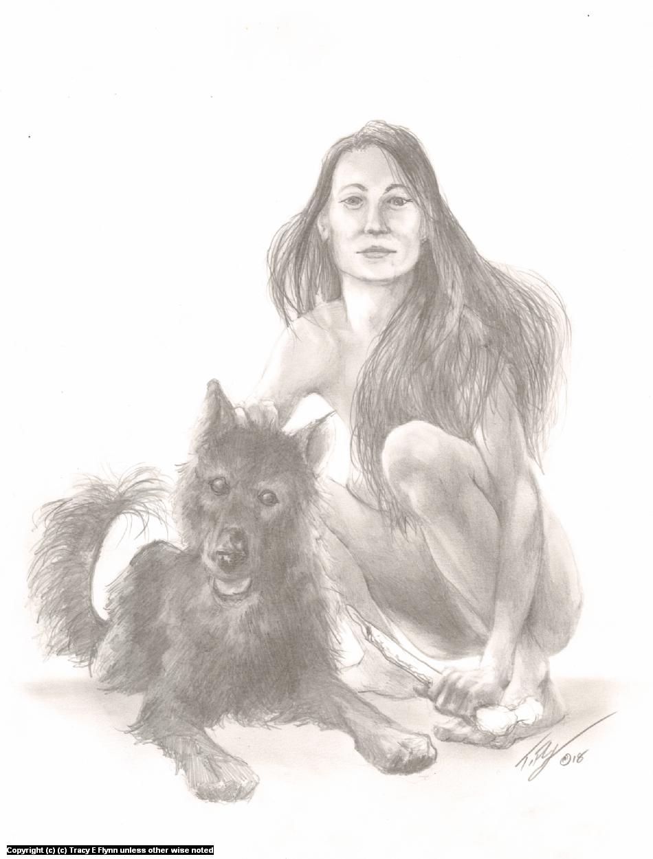 A FRAZETTA GIRL .... of sorts Artwork by Tracy E Flynn