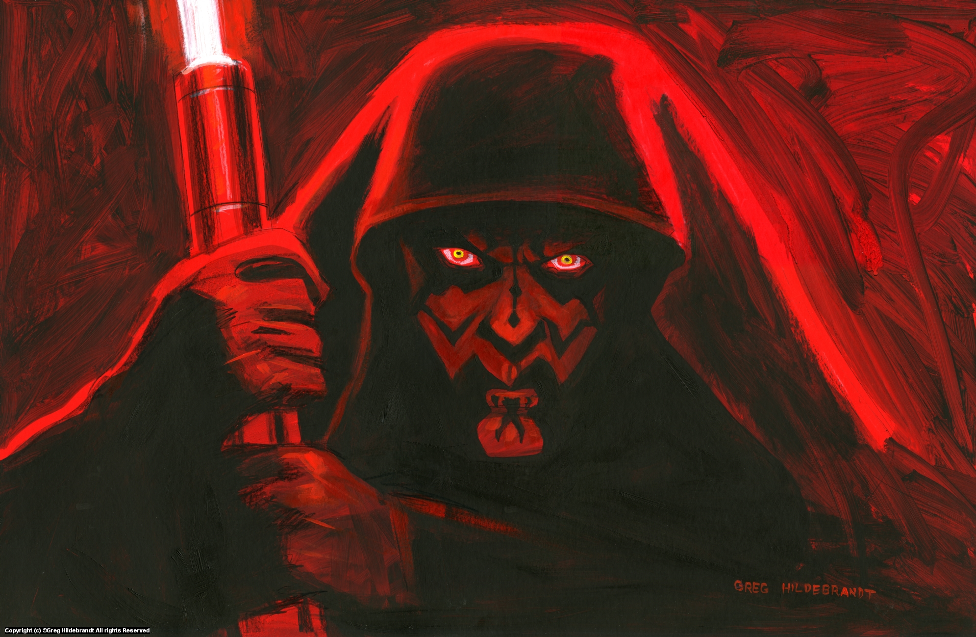 Darth Maul - Version 1 Artwork by Greg Hildebrandt