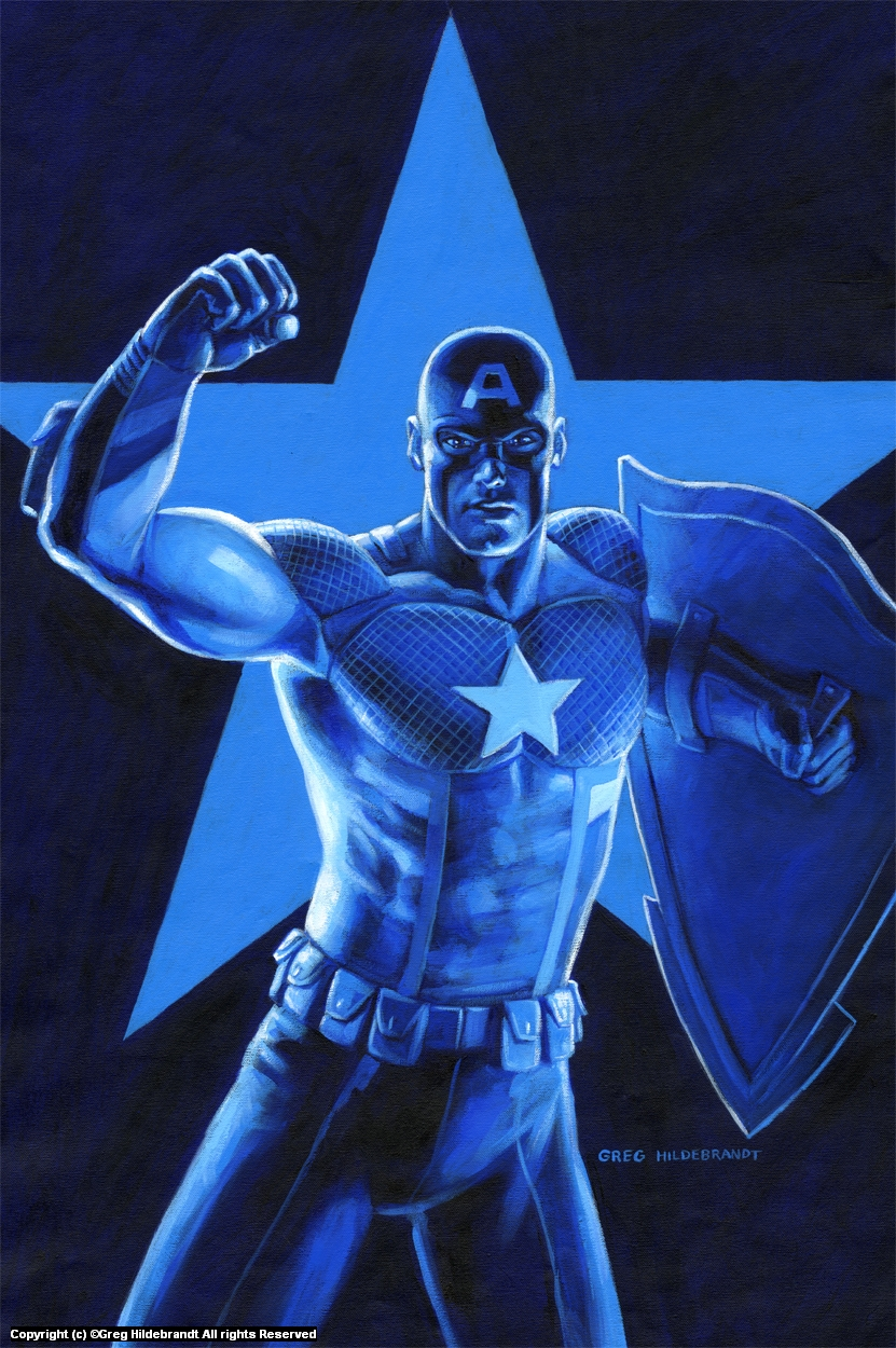 Captain America - Marvel - Prostate Cancer Variant  Artwork by Greg Hildebrandt