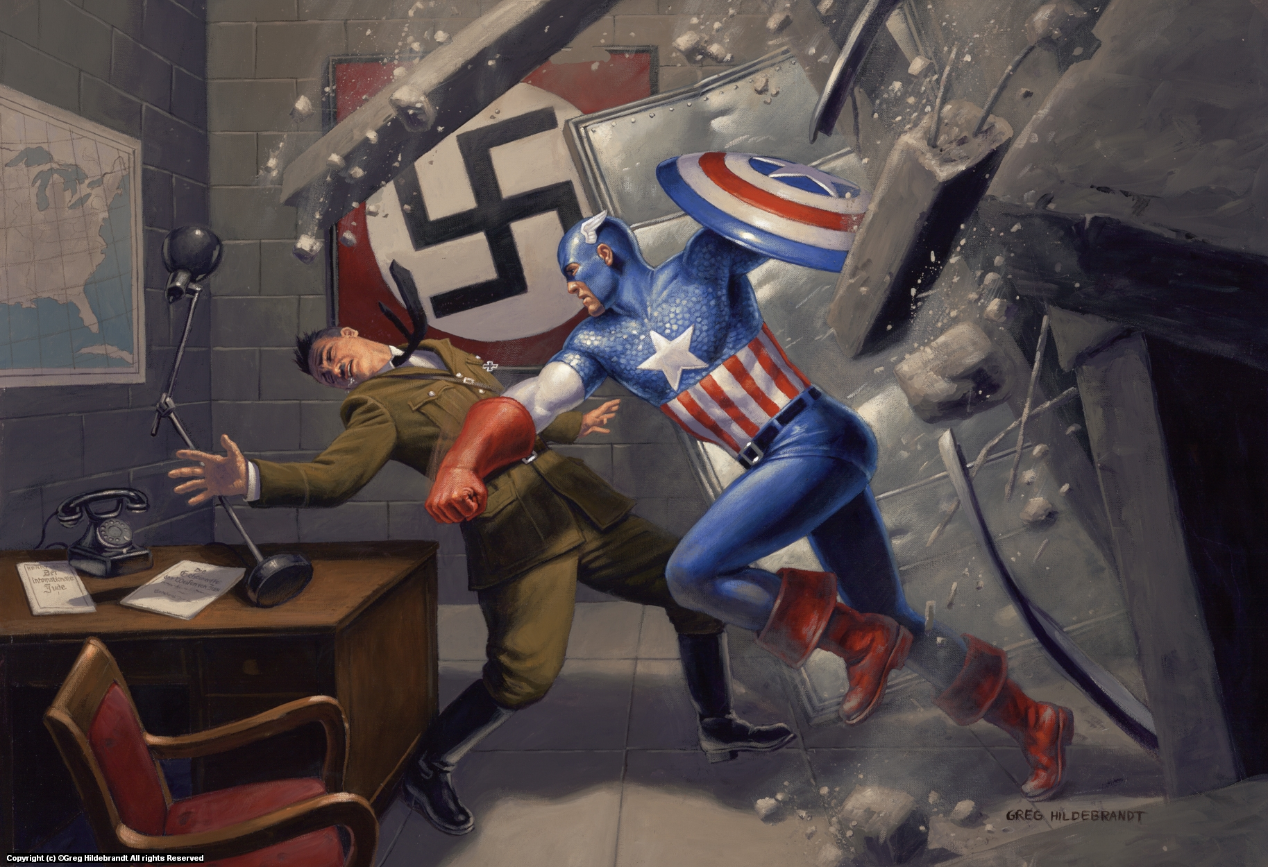 Captain America v Hitler -Sold Artwork by Greg Hildebrandt