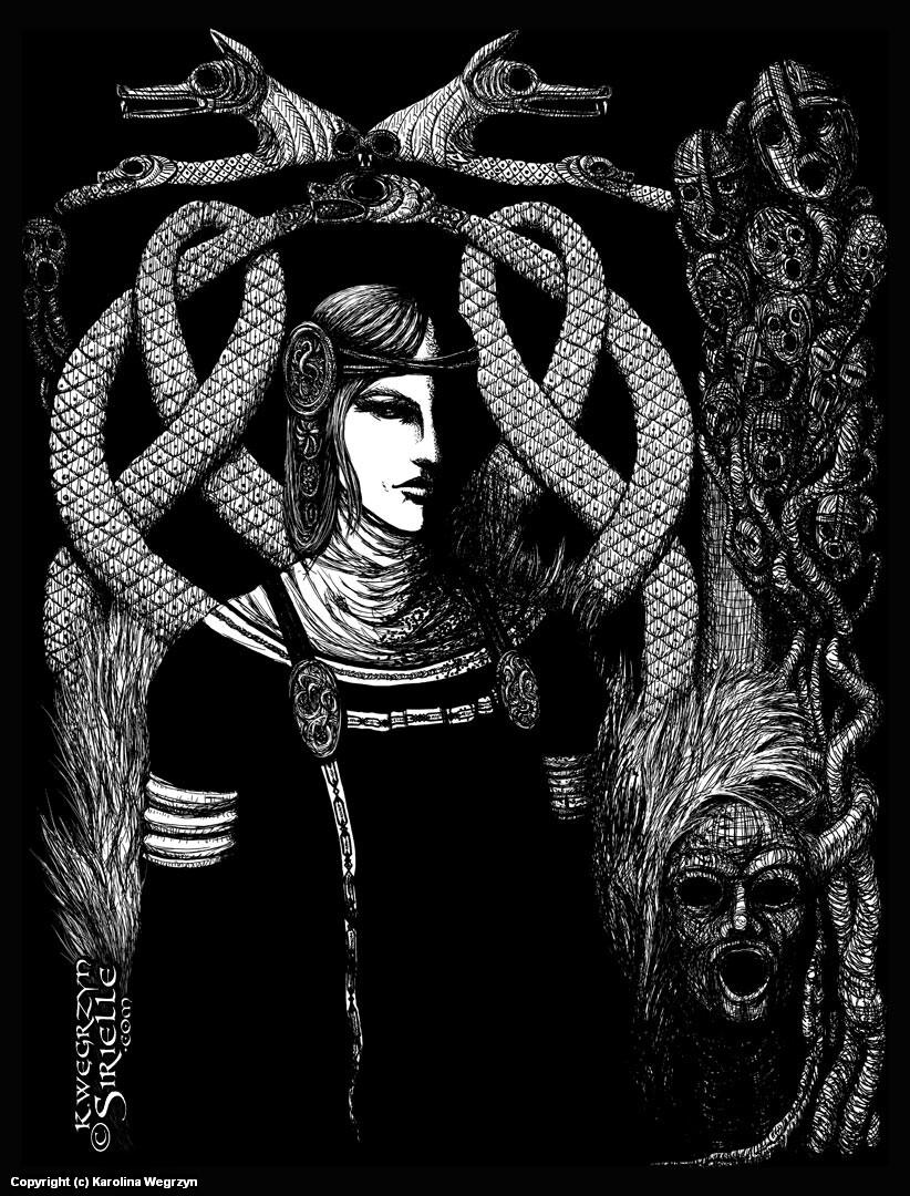 Hel in Black Artwork by Karolina Wêgrzyn
