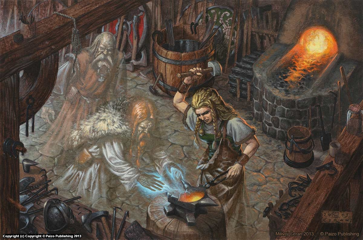 Norse Ghostly Blacksmith Artwork by Milivoj Ceran
