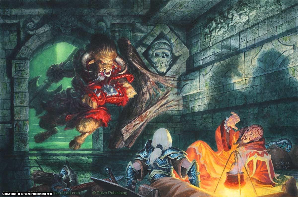 Minotaur Attack Artwork by Milivoj Ceran