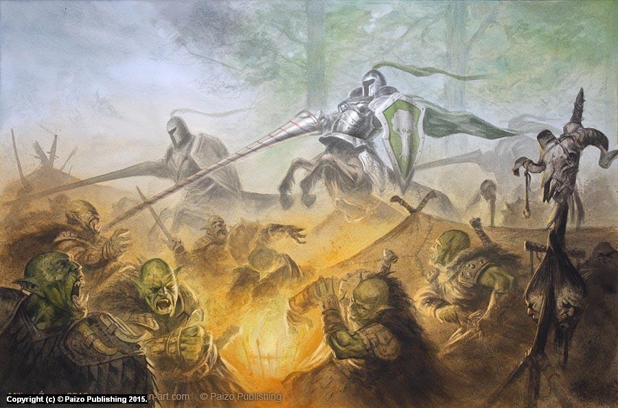 Intruders in Orc Encampment Artwork by Milivoj Ceran