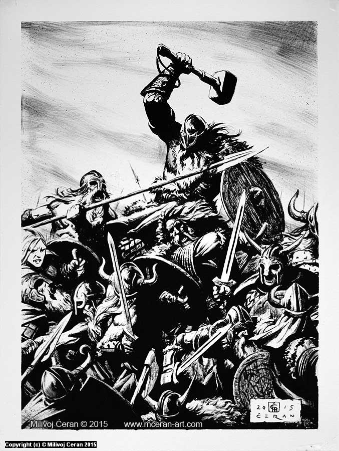 Aesir and Vanir War Artwork by Milivoj Ceran