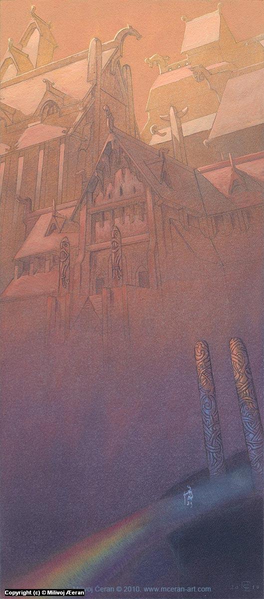 Heimdall in Asgard Artwork by Milivoj Ceran