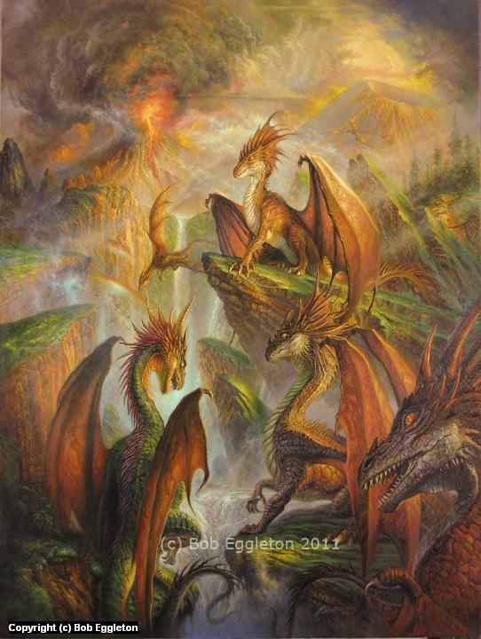 Dragon's Gathering Artwork by Bob Eggleton