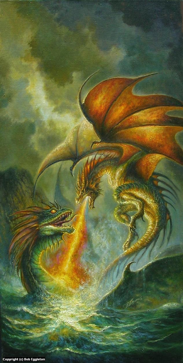 Dragon vs Kraken Artwork by Bob Eggleton
