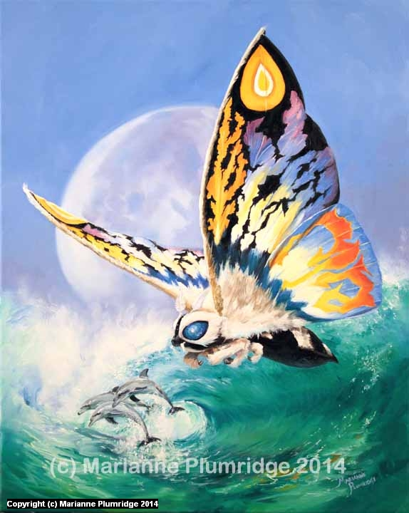 RAINBOW MOTHRA: WAVE HOPPING Artwork by Marianne Plumridge