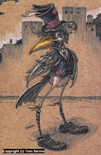 Bird in Hat Artwork by Tom Sarmo