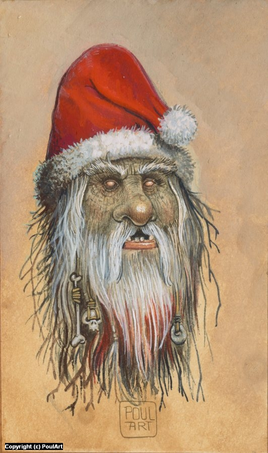 When Santa Claus knocks three times. Artwork by Poul Dohle