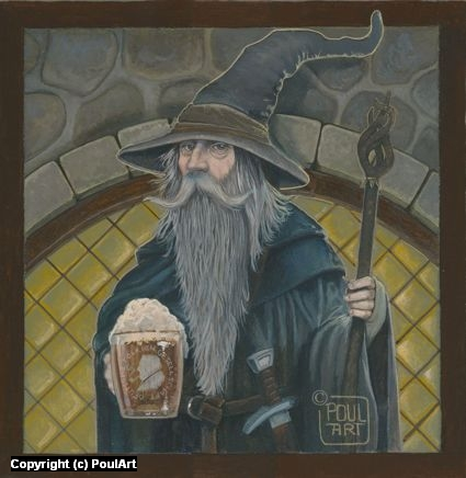 Gandalf ....Cheers my friends !!! Artwork by Poul Dohle