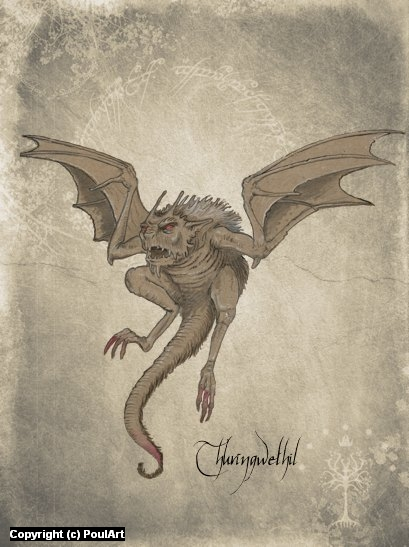 Thuringwethil (Silmarillion) Artwork by Poul Dohle