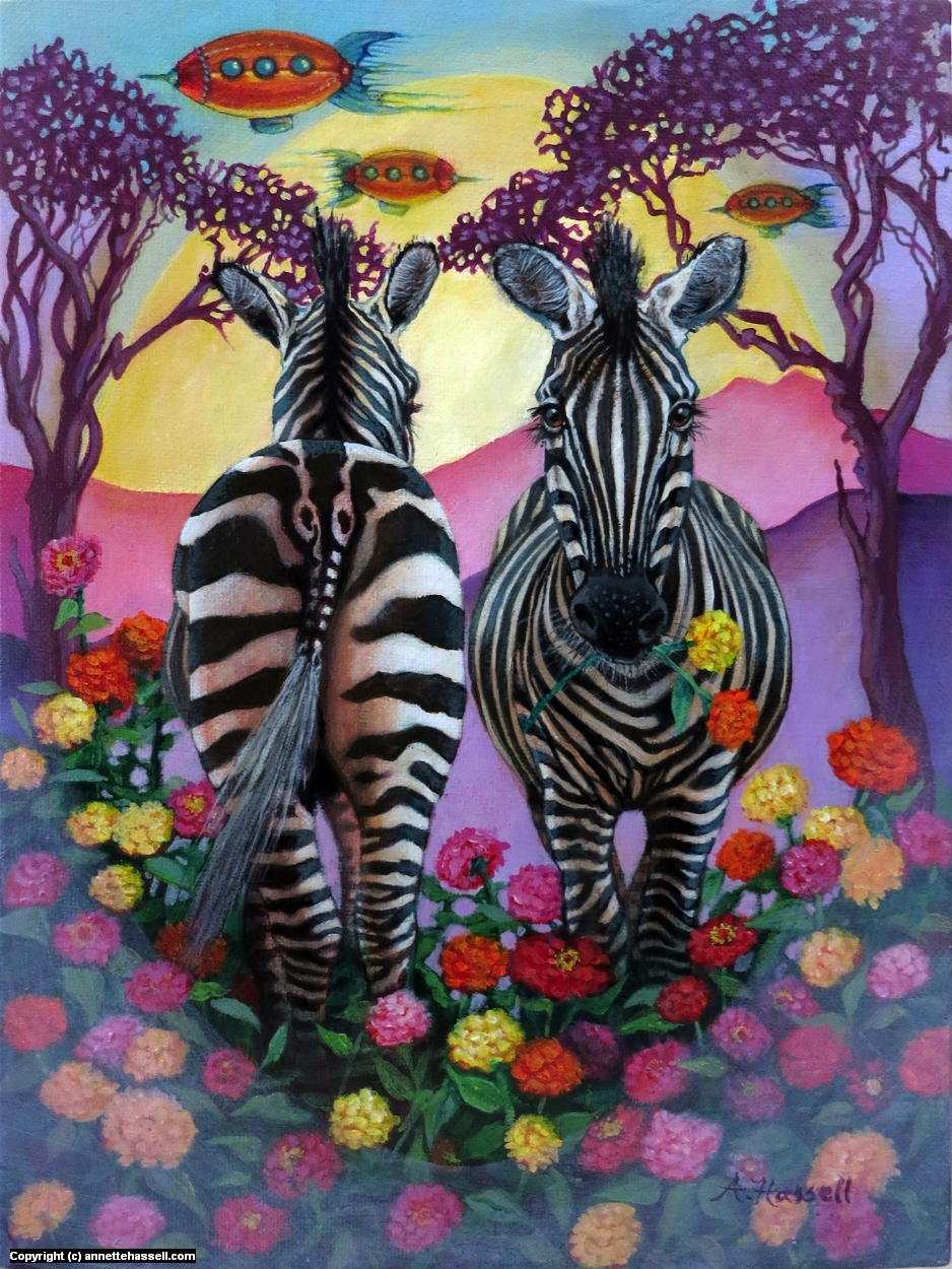 Zebras in the Zinnias With Zeppelins Artwork by Annette Hassell