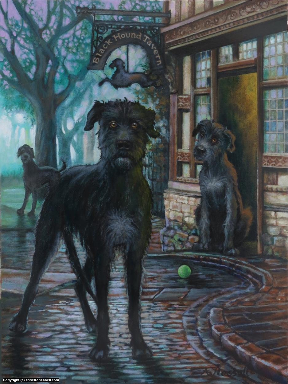 Black Hound Tavern Artwork by Annette Hassell
