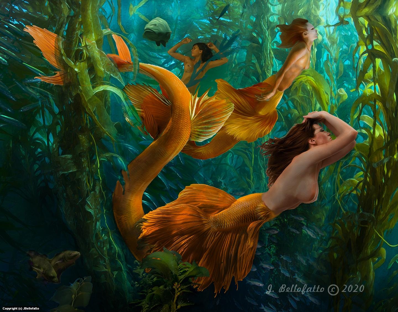 Mermaids of the Kelp Forest Artwork by Joseph Bellofatto