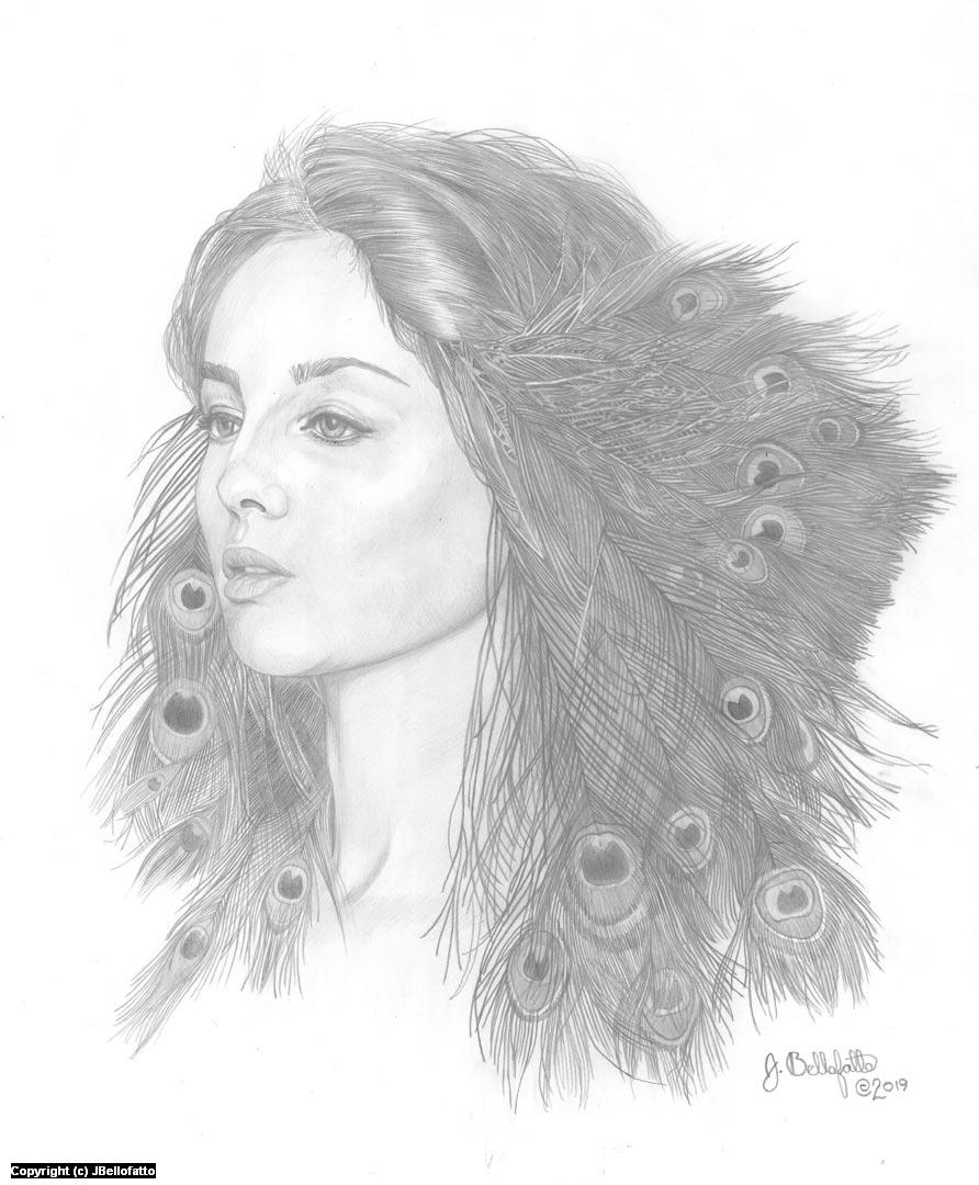 Peacock Girl Artwork by Joseph Bellofatto