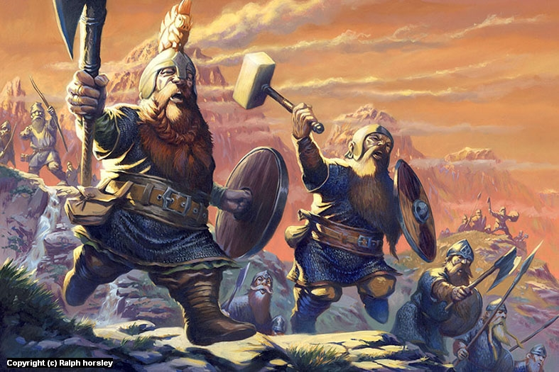 Oathmark: Dwarf Infantry Artwork by Ralph Horsley