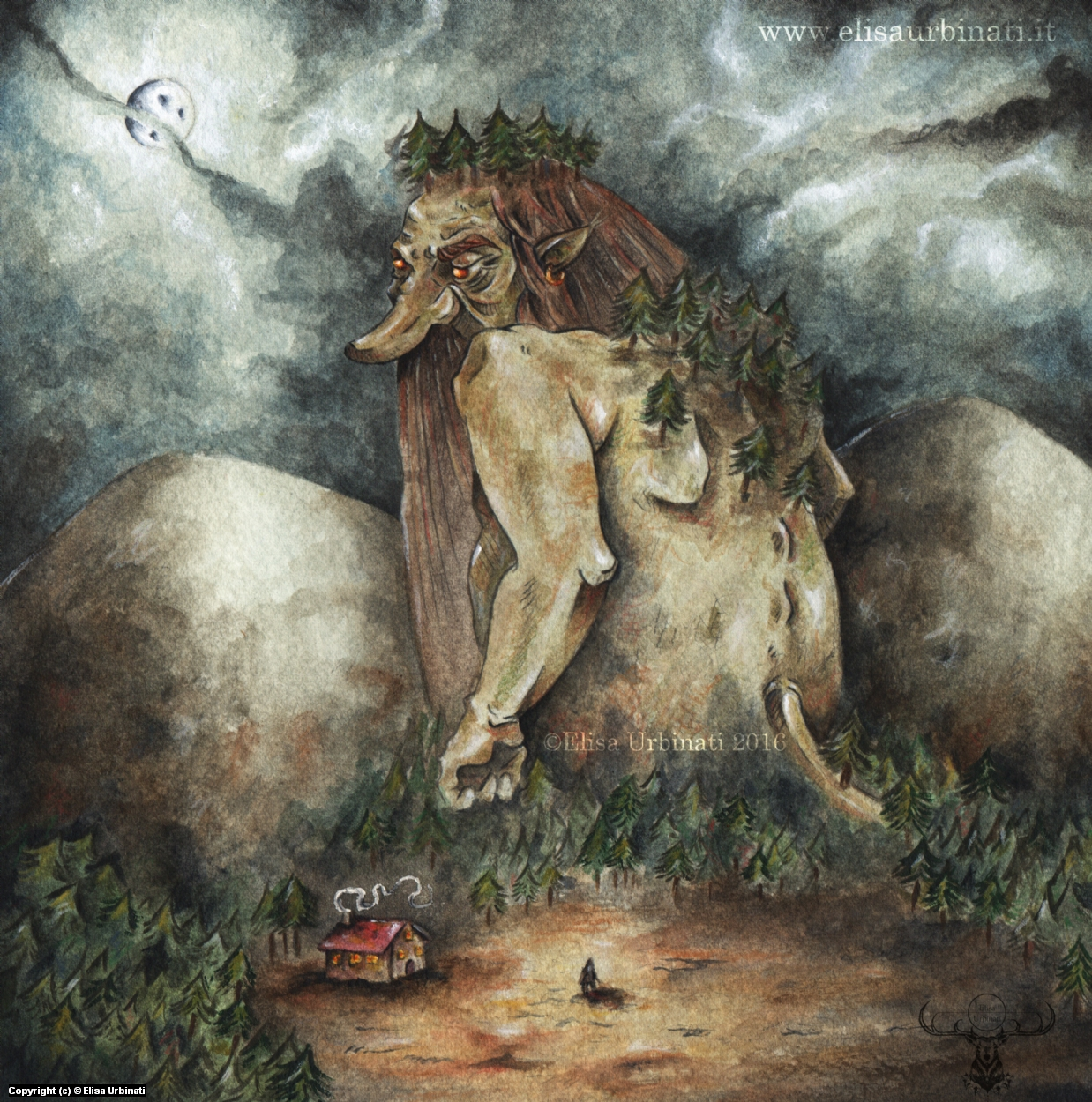 Under The Mountain Troll Artwork by Elisa Urbinati