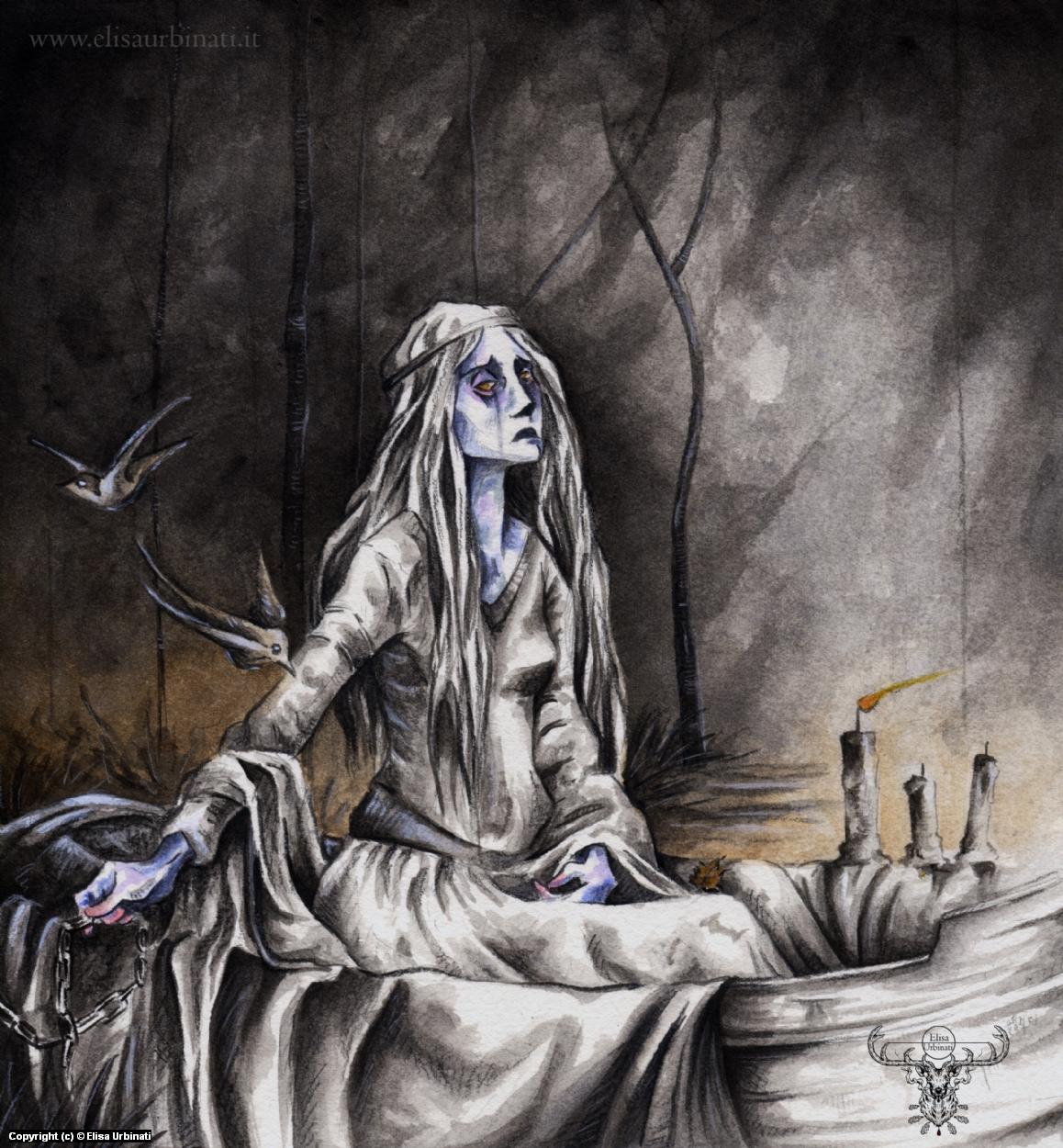 Lady of Shalott (Waterhouse tribute) Artwork by Elisa Urbinati