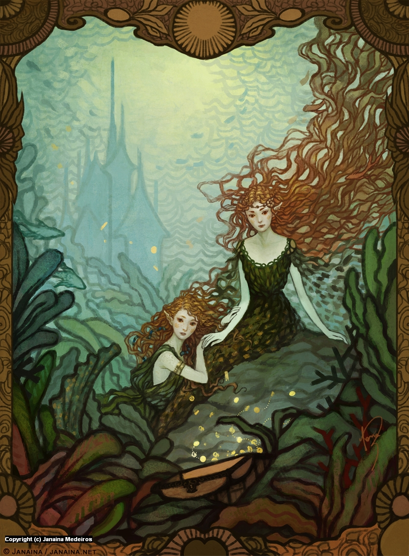 The Mermaids & The Pirate Treasure Artwork by Janaina Medeiros
