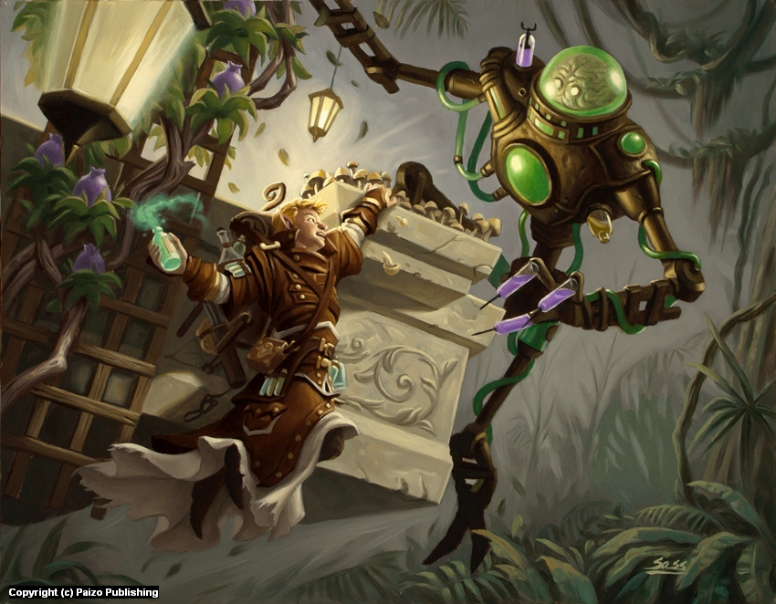 Golem battle Artwork by Mike Sass