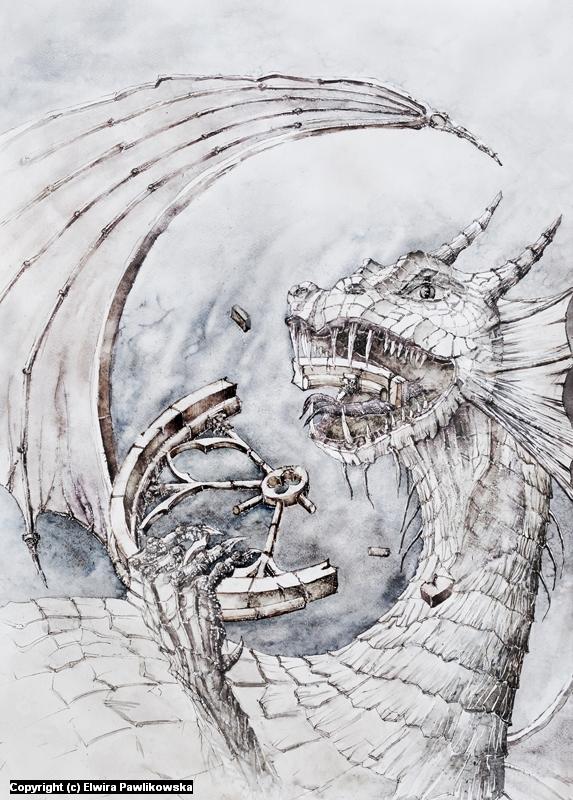 Gothic Dragon Artwork by Elwira Pawlikowska