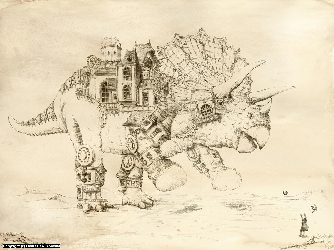 Steampunk Triceratops Artwork by Elwira Pawlikowska