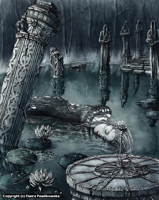 Fantasy Pond Artwork by Elwira Pawlikowska
