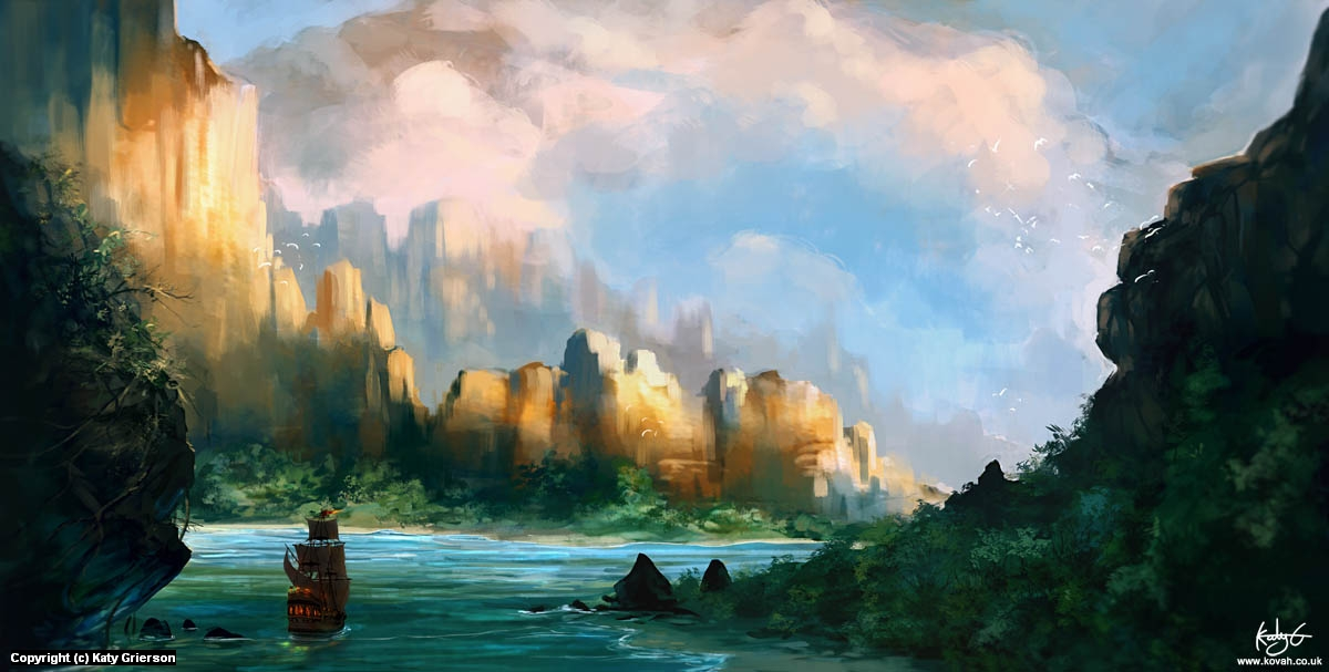 Golden Cliffs Artwork by Katy Grierson