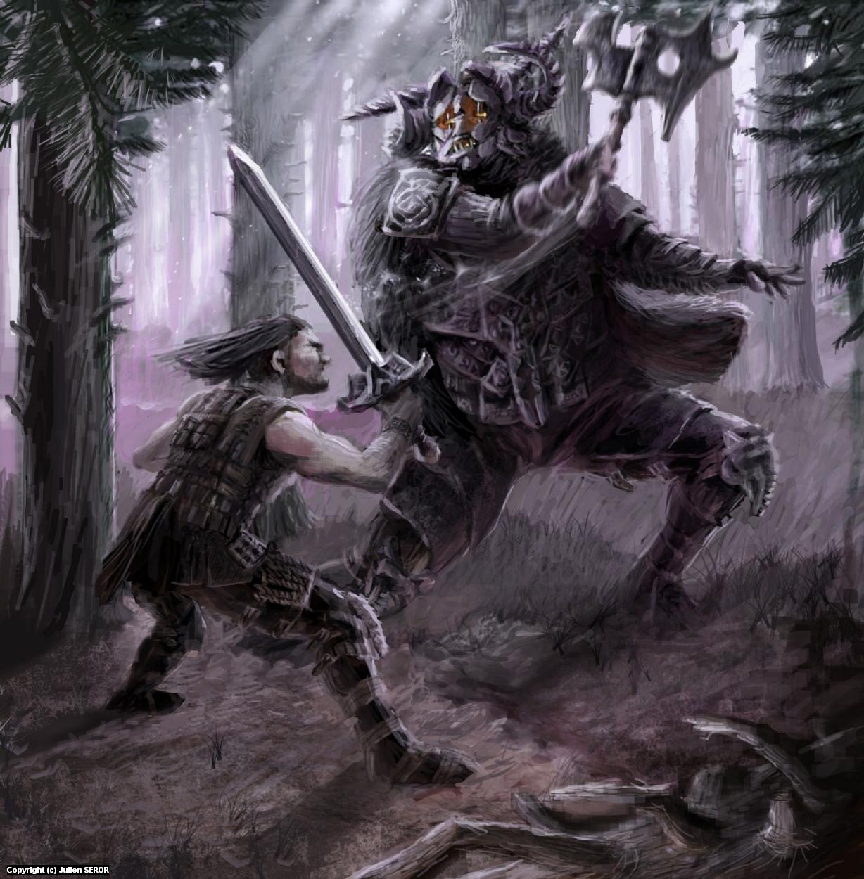 Fight in Forest Artwork by Julien SEROR