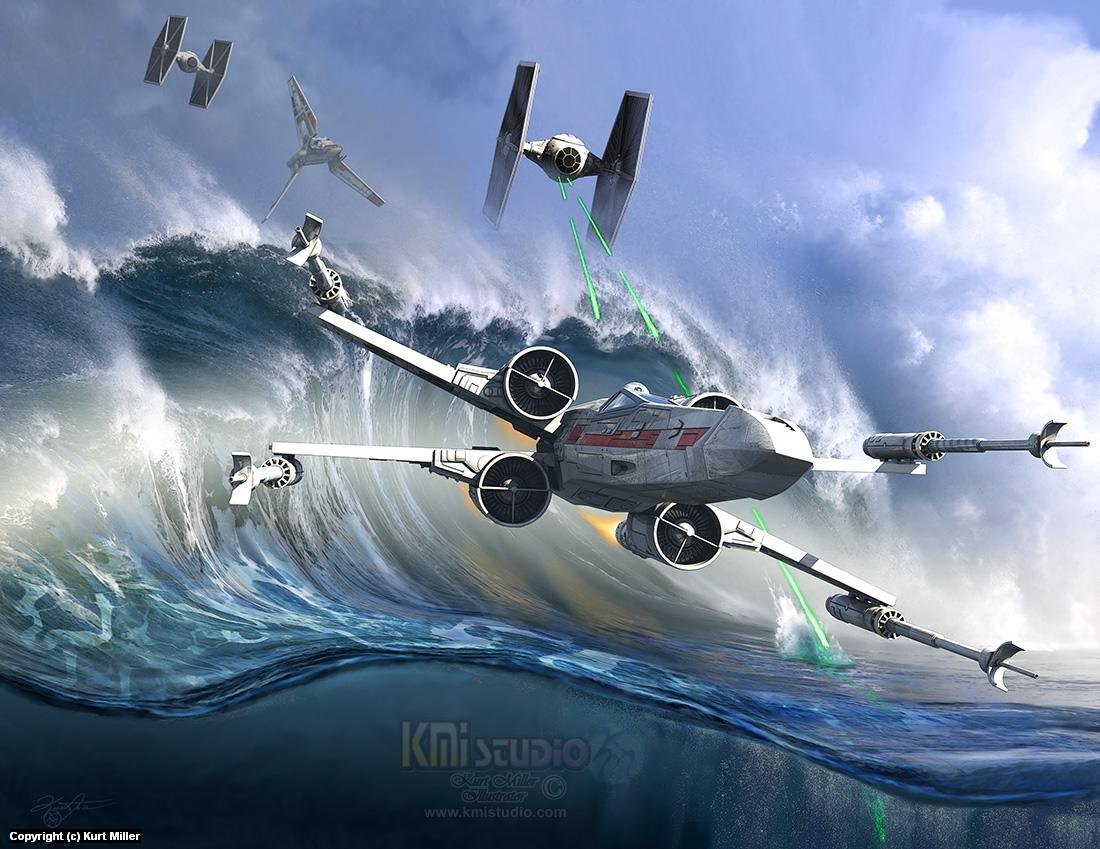 Battle over Kamino - The Tie Dal Wave Artwork by Kurt Miller