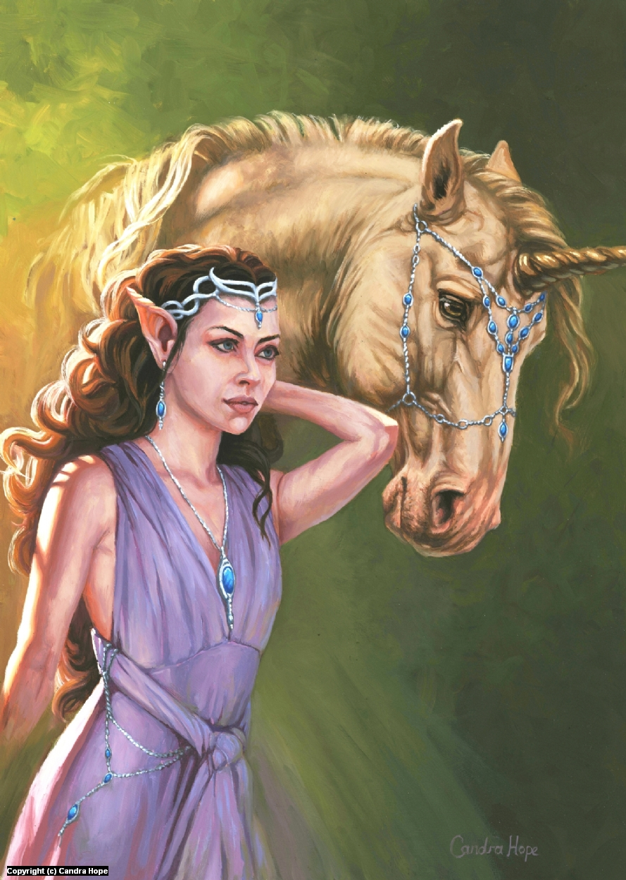 The Elf and the Unicorn Artwork by Candra Hope