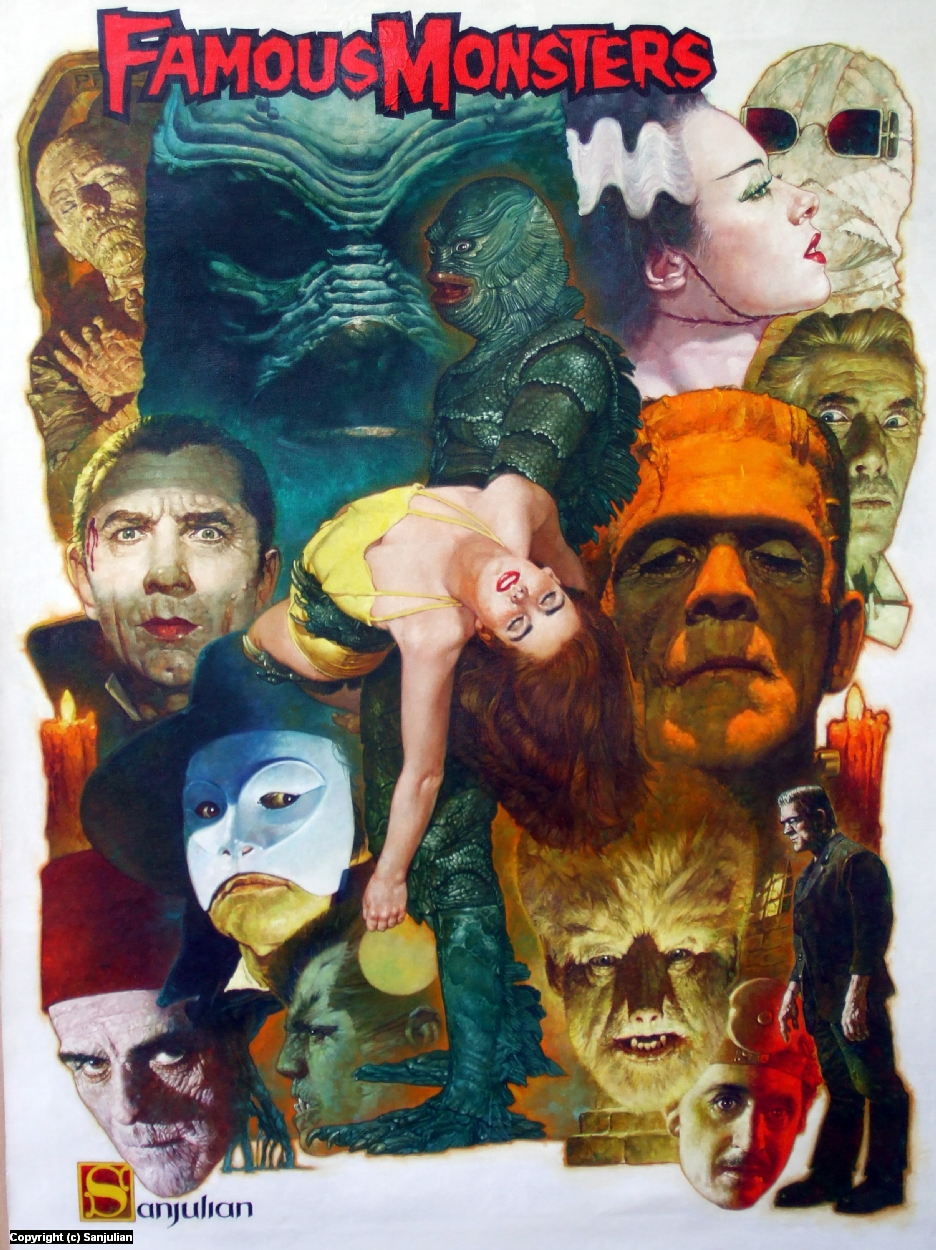 Famous Monsters Artwork by Manuel Sanjulian