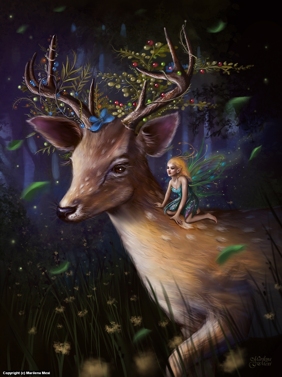 The Deer and the Fairy Artwork by Marilena Mexi