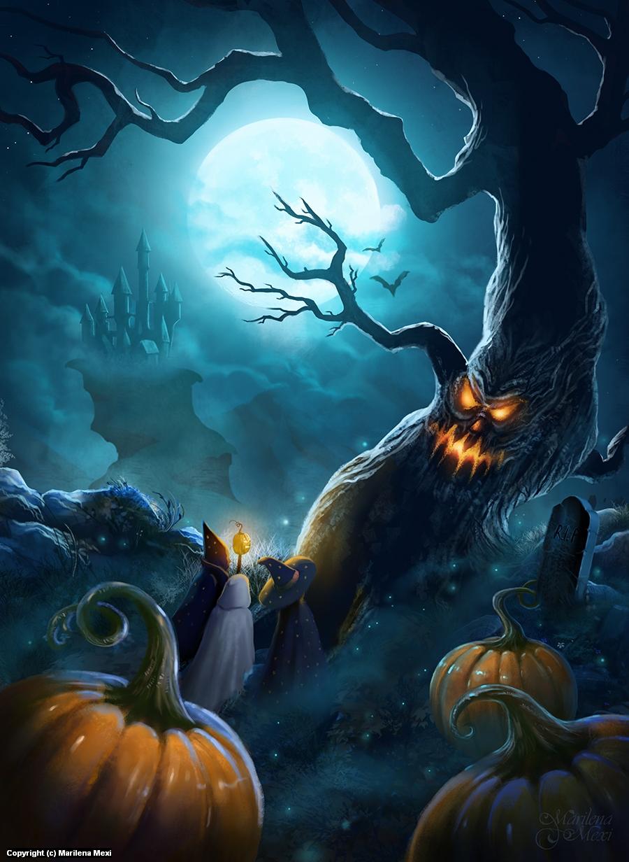 Halloween Night Artwork by Marilena Mexi