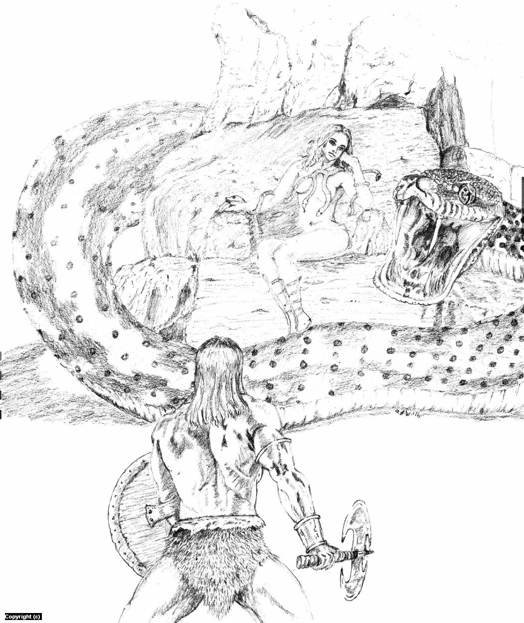 Conan and the Snake Goddess! Artwork by A. Jaye Williams