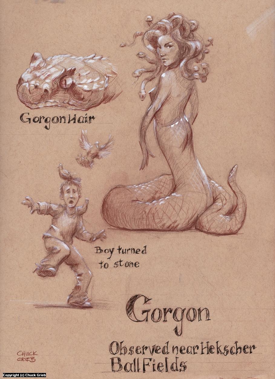 Gorgon near the Hecksher Ballfields Artwork by Chuck Grieb