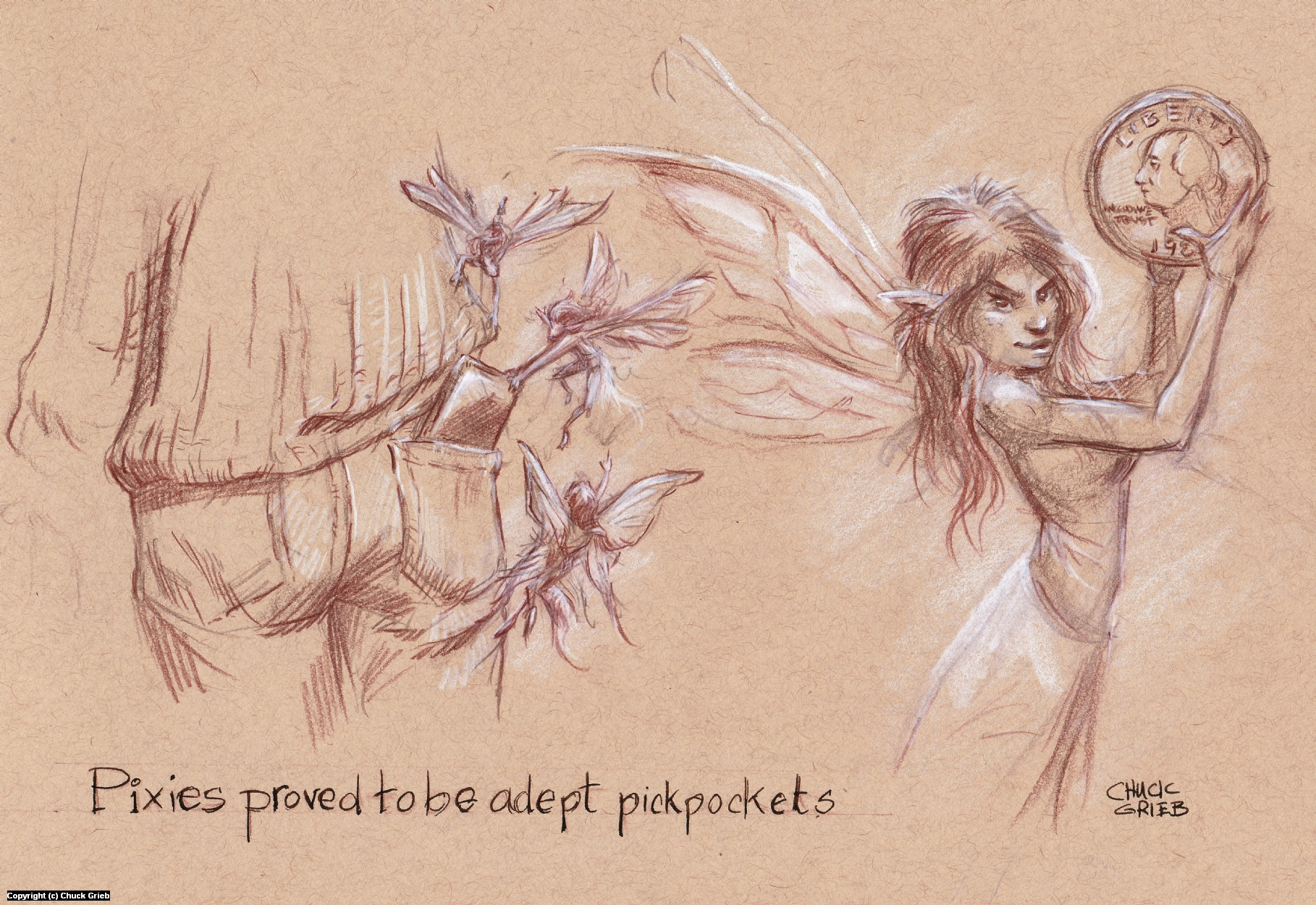Pixie Pickpockets Artwork by Chuck Grieb