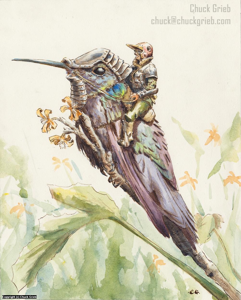 Hummingbird Warrior Artwork by Chuck Grieb