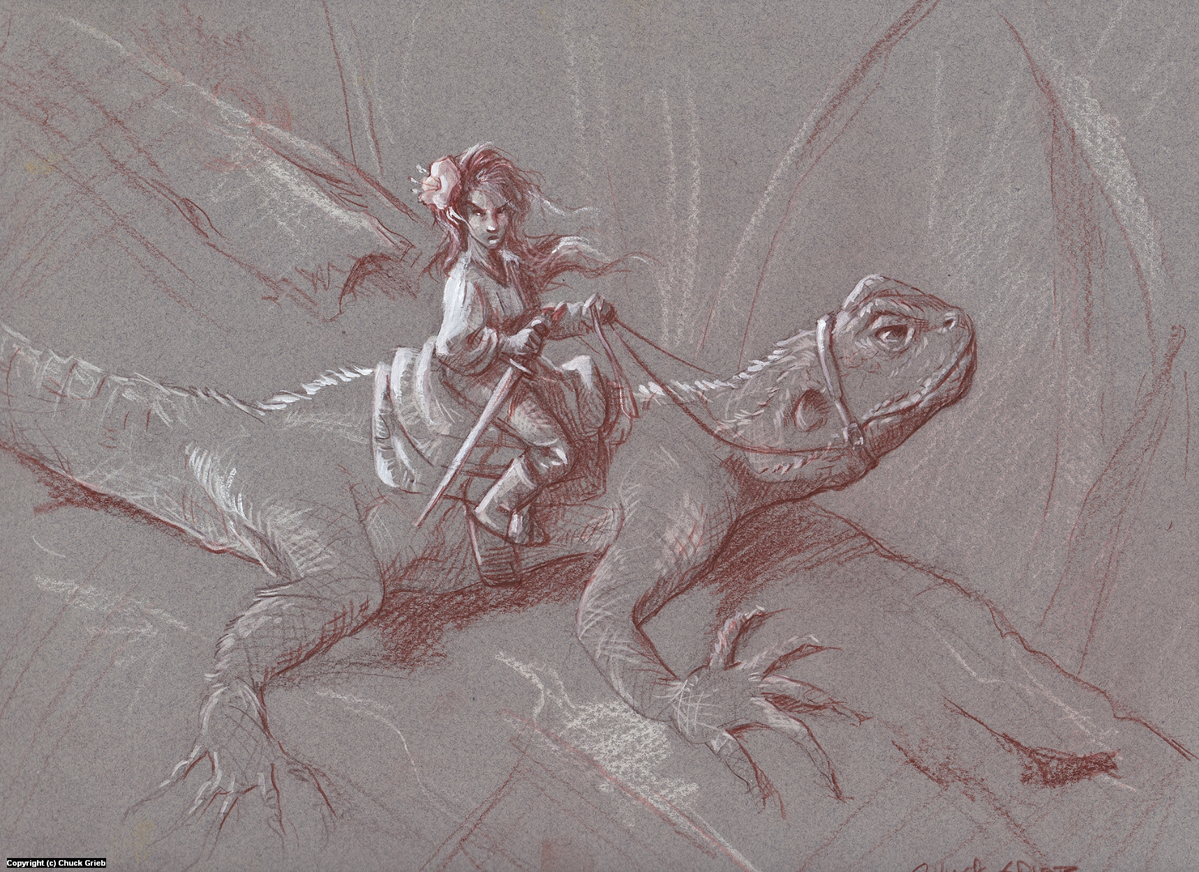 Lizard Rider Artwork by Chuck Grieb