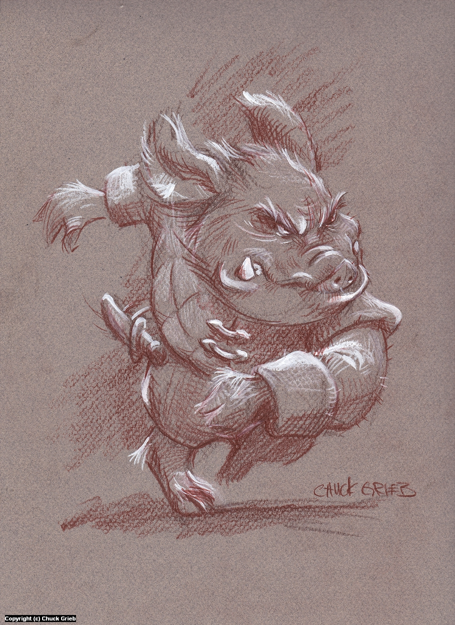 Charging Goblin Artwork by Chuck Grieb
