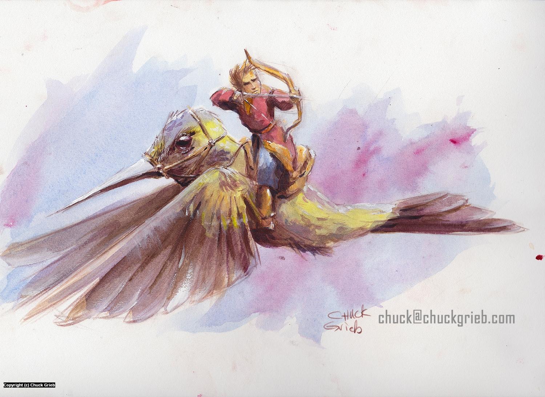 Hummingbird Archer Artwork by Chuck Grieb